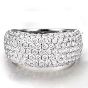 Diamond CZ Semiwide Band Sparkly Dome Ring